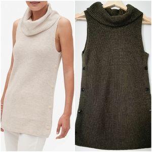 💙$5 Add-on💙 BANANA REPUBLIC Cotton Blend Sweater Tunic Cowl Neck in Moss Sz XS